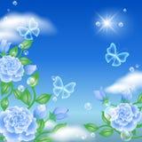 Vlinder en rozen Stock Afbeelding