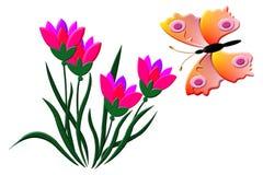 Vlinder en Tulpen Stock Foto