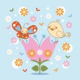 Vlinder en Vogel in een bloem royalty-vrije illustratie