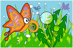 Vlinder flyin over gras met paardebloemen illustr Royalty-vrije Stock Foto