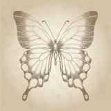 Vlinder in grafische stijlpunten dat wordt geschilderd. Mooie kaart in retro stijl Royalty-vrije Stock Foto