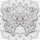 Vlinder Hand getrokken etnische Voor het drukken geschikte vector in krabbelstijl Kleurende boekpagina voor volwassenen en oudere Royalty-vrije Stock Afbeeldingen