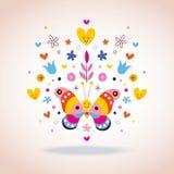 Vlinder, harten en bloemen Stock Afbeeldingen