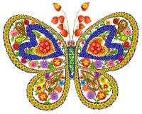 Vlinder in liefde van de zomerbloemen Stock Foto's
