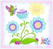 Vlinder, lieveheersbeestje, slak, zonbloem. Royalty-vrije Stock Fotografie