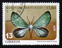 vlinder met de inschrijving Melanchroia regnatrix, reeks, circa 1979 Royalty-vrije Stock Foto