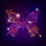 Vlinder met decoratief sierpatroon in krabbelstijl Royalty-vrije Stock Foto