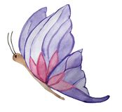 Vlinder met lilac vleugels op een witte achtergrond stock illustratie