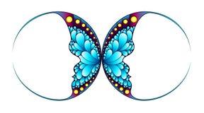 Vlinder met twee gezichtssilhouet Stock Afbeeldingen