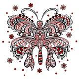 Vlinder met wervelend decoratief ornament Royalty-vrije Stock Afbeeldingen