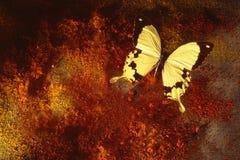 Vlinder op Geweven Achtergrond Stock Foto's