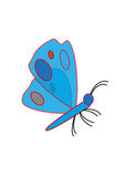 Vlinder op witte achtergrond Stock Foto