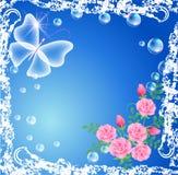 Vlinder, rozen en bellen in grungeframe Stock Afbeeldingen