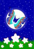 Vlinder tegen de achtergrond van de maan royalty-vrije stock foto's