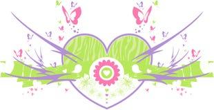 Vlinder Valentine Heart Royalty-vrije Stock Afbeeldingen