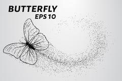 Vlinder van de deeltjes De wind draagt een stuk van een vlinder Vector illustratie Royalty-vrije Stock Afbeeldingen