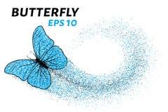 Vlinder van de deeltjes Van de kleinere cirkels is een vlinder Vector illustratie Stock Foto
