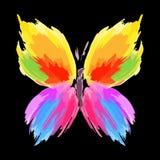 Vlinder van kleurenplonsen en lijnborstels Vector royalty-vrije stock afbeeldingen