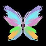 Vlinder van kleurenplonsen en lijnborstels Vector stock afbeeldingen