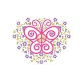 Vlinder, vredes en liefde de vector van het liefdadigheidsembleem Royalty-vrije Stock Afbeelding