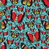Vlinderbeeldverhaal die naadloos patroon, vectorachtergrond trekken Abstractie getrokken insect met kleurrijke heldere vleugel op royalty-vrije illustratie