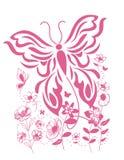 vlinderpatroon onder bloemen, de druk van de jonge geitjest-shirt stock illustratie