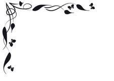 Vlinders en bladeren. Vignet Stock Afbeelding