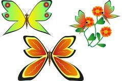 Vlinders en bloemen Stock Fotografie