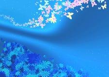 Vlinders en bloemen op een blauwe achtergrond Stock Foto