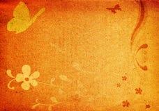 Vlinders en bloemen op grungy achtergrond Stock Foto's