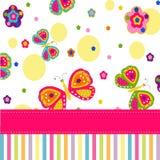 Vlinders en bloemen vectorkaart Stock Foto's