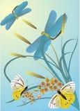 Vlinders en libellen Royalty-vrije Stock Afbeeldingen