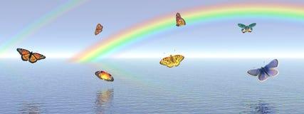 Vlinders en regenboog Stock Afbeeldingen