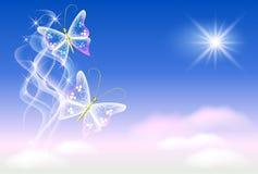 Vlinders en zonneschijn vector illustratie