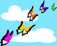 Vlinders in hemel Stock Afbeelding