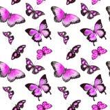Vlinders Het herhalen van achtergrond watercolor Stock Afbeelding