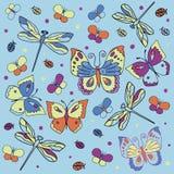 Vlinders, libellen en lieveheersbeestjes Stock Afbeeldingen