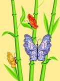 Vlinders op bamboe Royalty-vrije Stock Afbeeldingen
