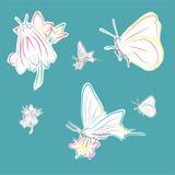 Vlinders op bloemen Stock Foto's