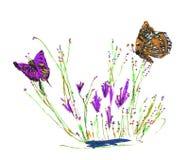 Vlinders op bloemen Stock Afbeeldingen