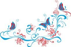 Vlinders op de kunsthoek van de bloemenklem royalty-vrije illustratie