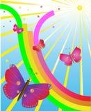 Vlinders in verrukking van een regenboog en de zon Stock Foto's