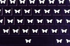 Vlindersymbolen op het toetsenbord stock afbeelding