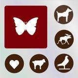 Vlindervector, pictogram, illustratie, rode en bruine backkckground vector illustratie