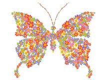 Vlindervorm met bloemen Stock Fotografie