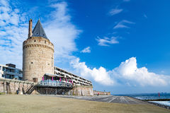 Vlissingen, town in Netherlands. Old tower and promenade by Northern sea  in Vlissingen, Netherlands Royalty Free Stock Photo