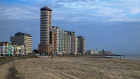 Vlissingen, Zeeland, Holland/Netherlands - October 2017: City beach and huge appartement blocks in the city. Shot with a Fujifilm XT-2 in October 2017 in Royalty Free Stock Image