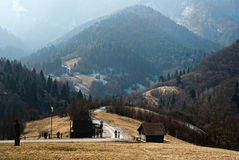 Vlkolinec, Slovakia. Vlkolinec is part of the UNESCO World Heritage since 1993,and one of ten Slovak villages that have a status of a village preserve. It is Stock Photography