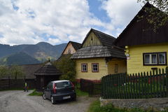 Vlkolinec, UNESCO in Slovakia. Traditional architecture in village Vlkolinec, on list UNESCO, Slovakia. Wooden houses and street in protected highland area in royalty free stock photo