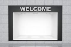 Välkommet tecken på stenlagerväggen Arkivbild